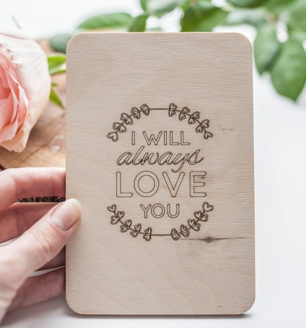 I Will Always Love You' Valentine's Wood Card – 2