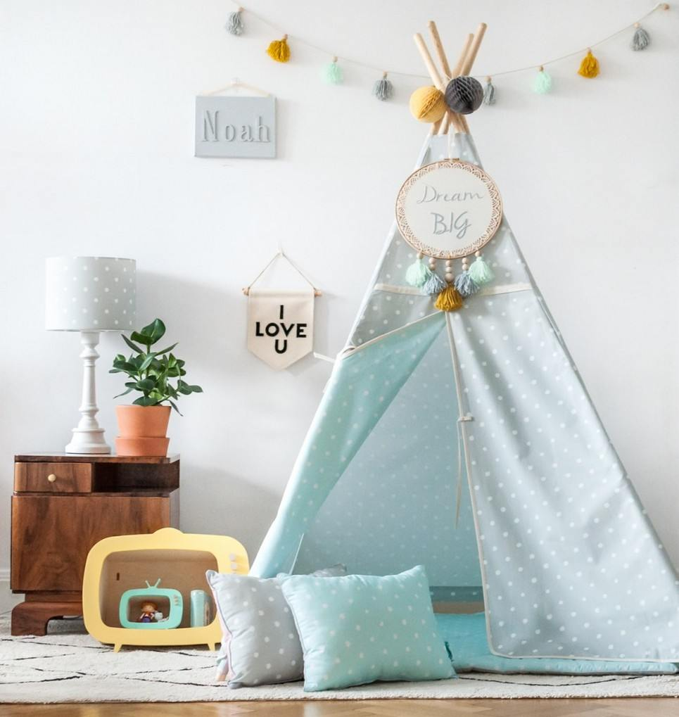 Lovely Dots Mint & Grey Children's Teepee
