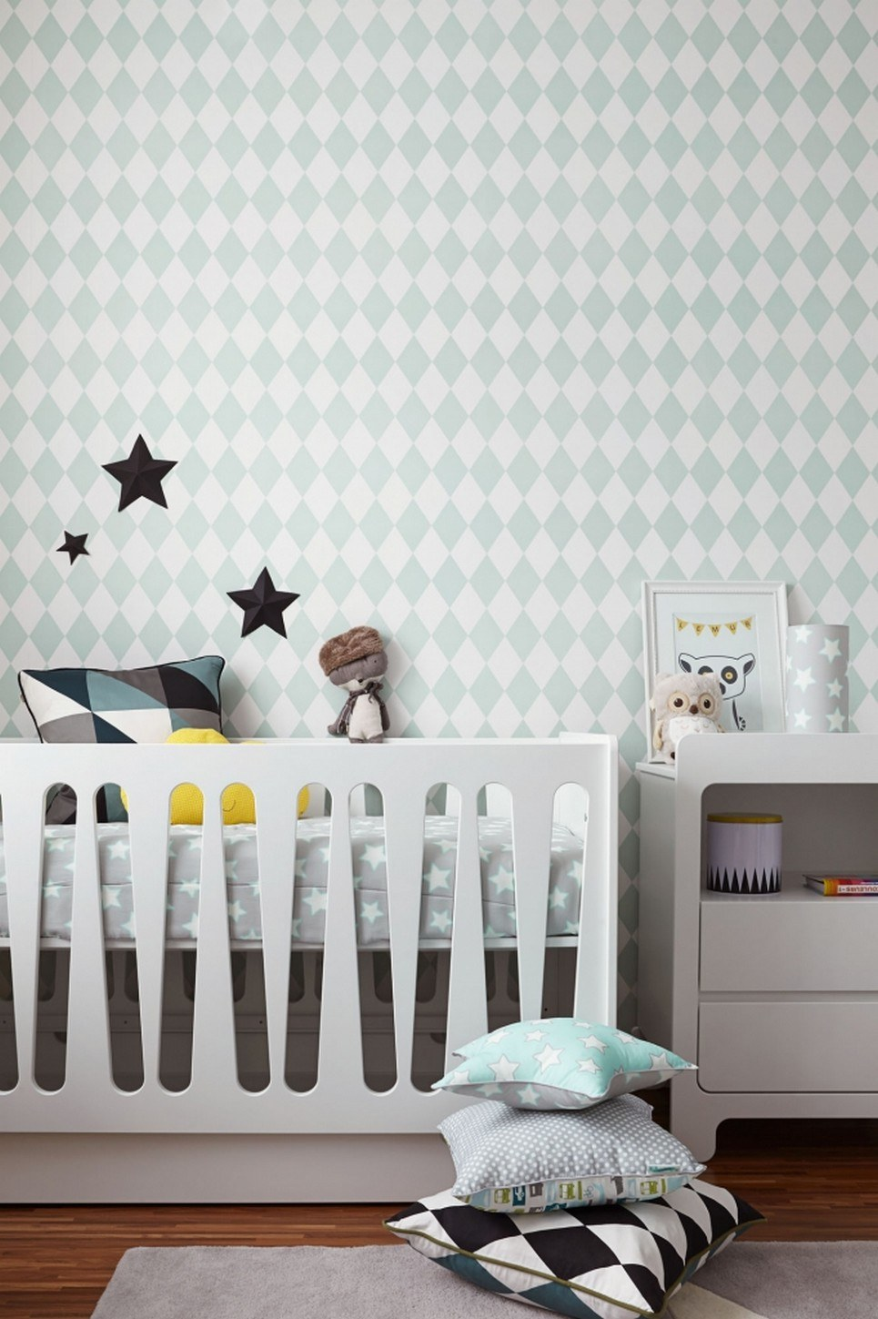 Mint & Grey Stars Children's Bedding Set – 1