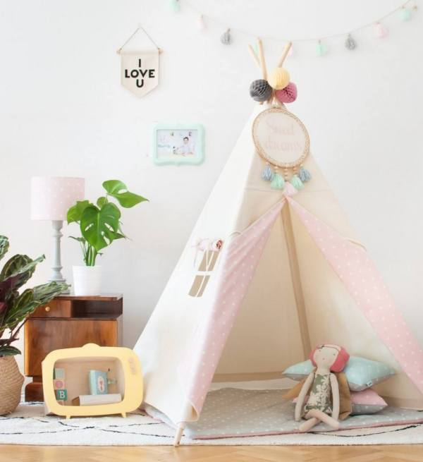 Natural & Dots Pink Children's Teepee