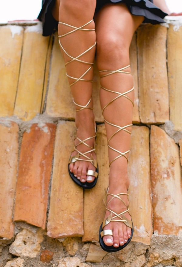 Amphitrite Gold and Black Greek Leather Sandal – 3