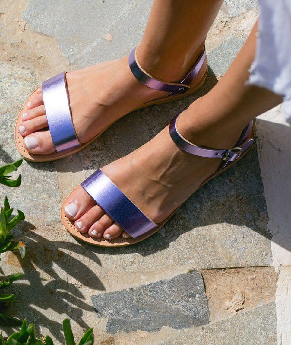 Aphrodite Metallic Purple Greek Leather Sandal – 4