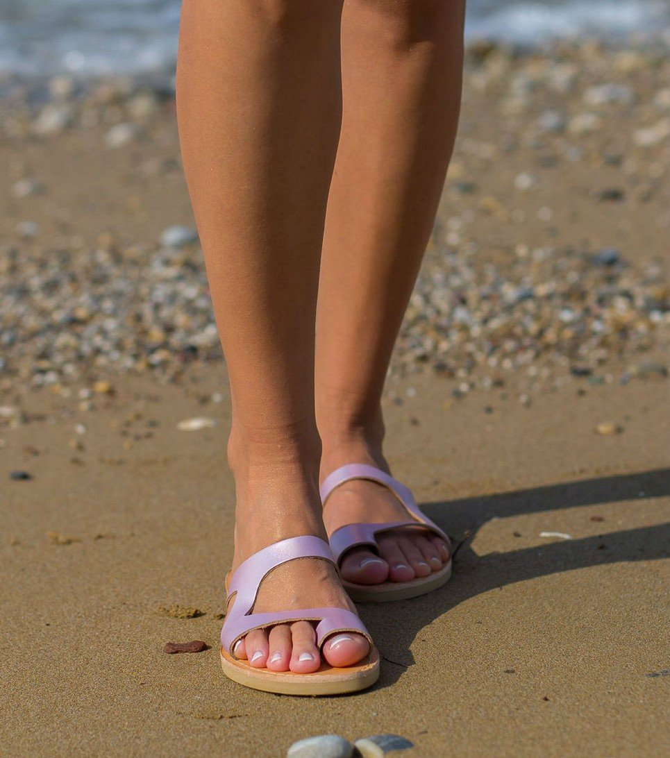 Aries Metallic Pink Greek Leather Sandal – 4