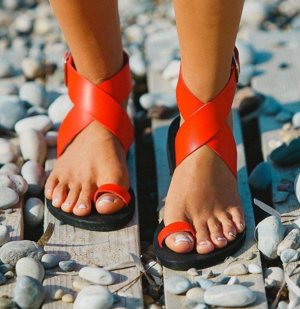 Dione Coral Red Greek Leather Sandal – 5