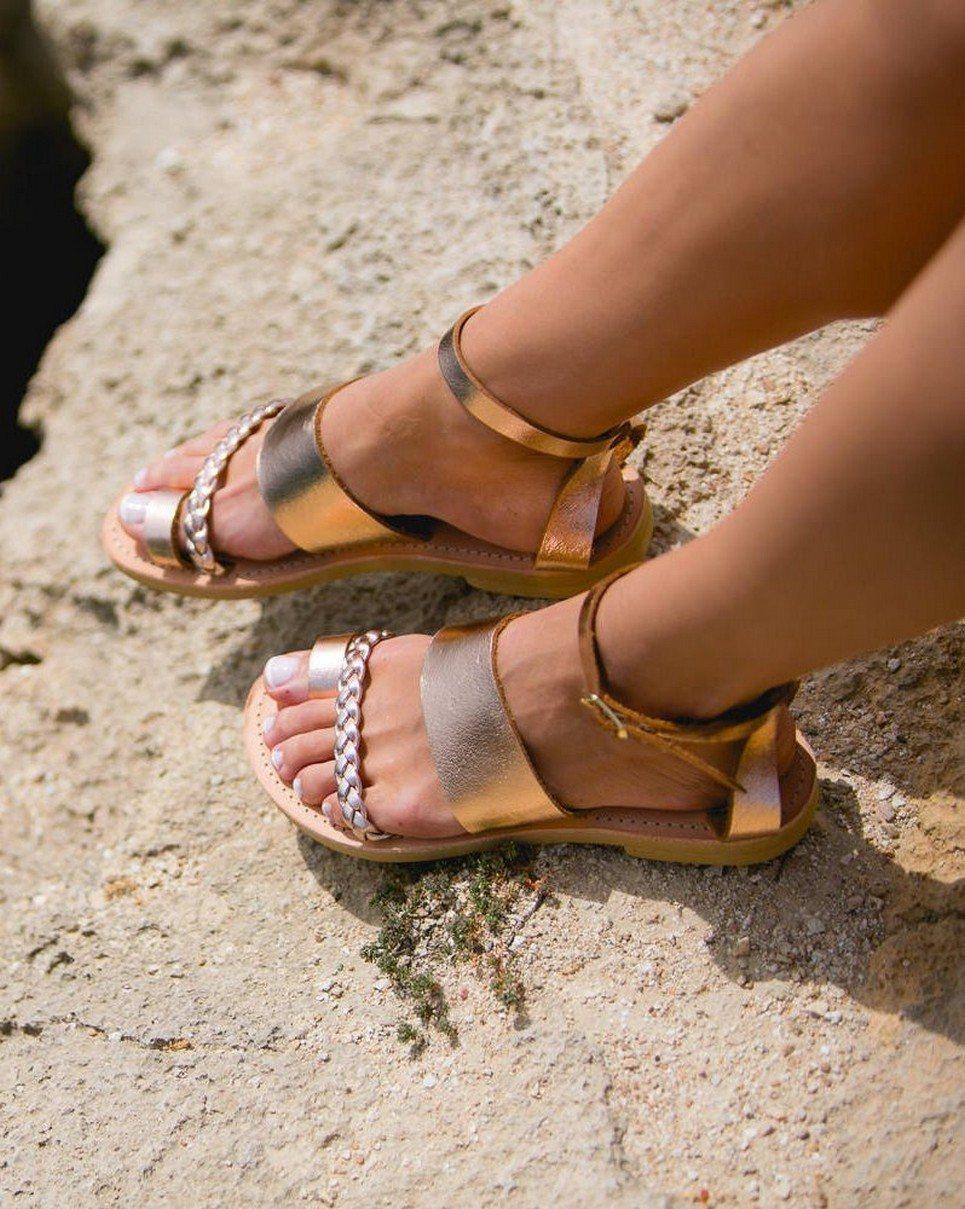 Hera Rose Gold Greek Leather Sandal – 1