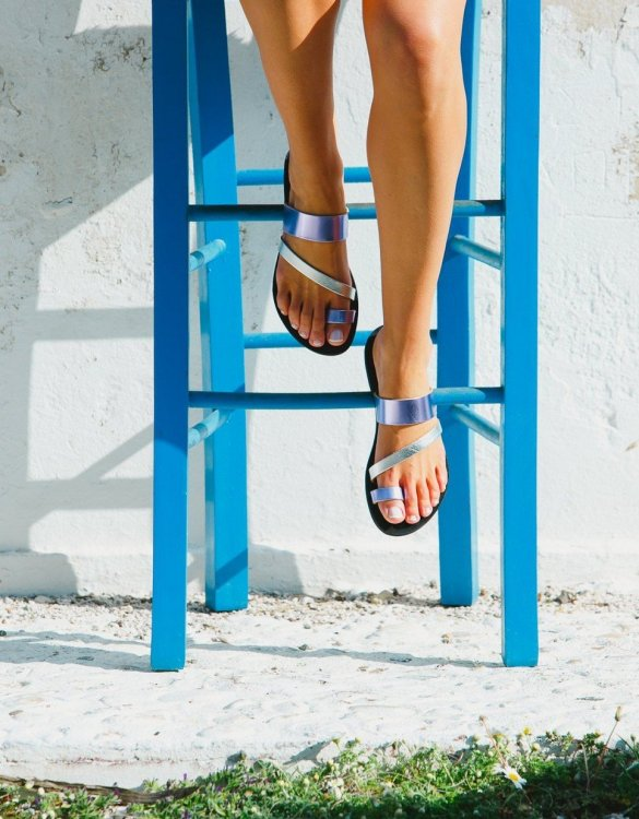 Just what every summer wardrobe needs, the Nemesis Purple and Silver Greek Leather Sandal is every woman's dream pair, super comfy and elegant, and easily combined with any outfit.