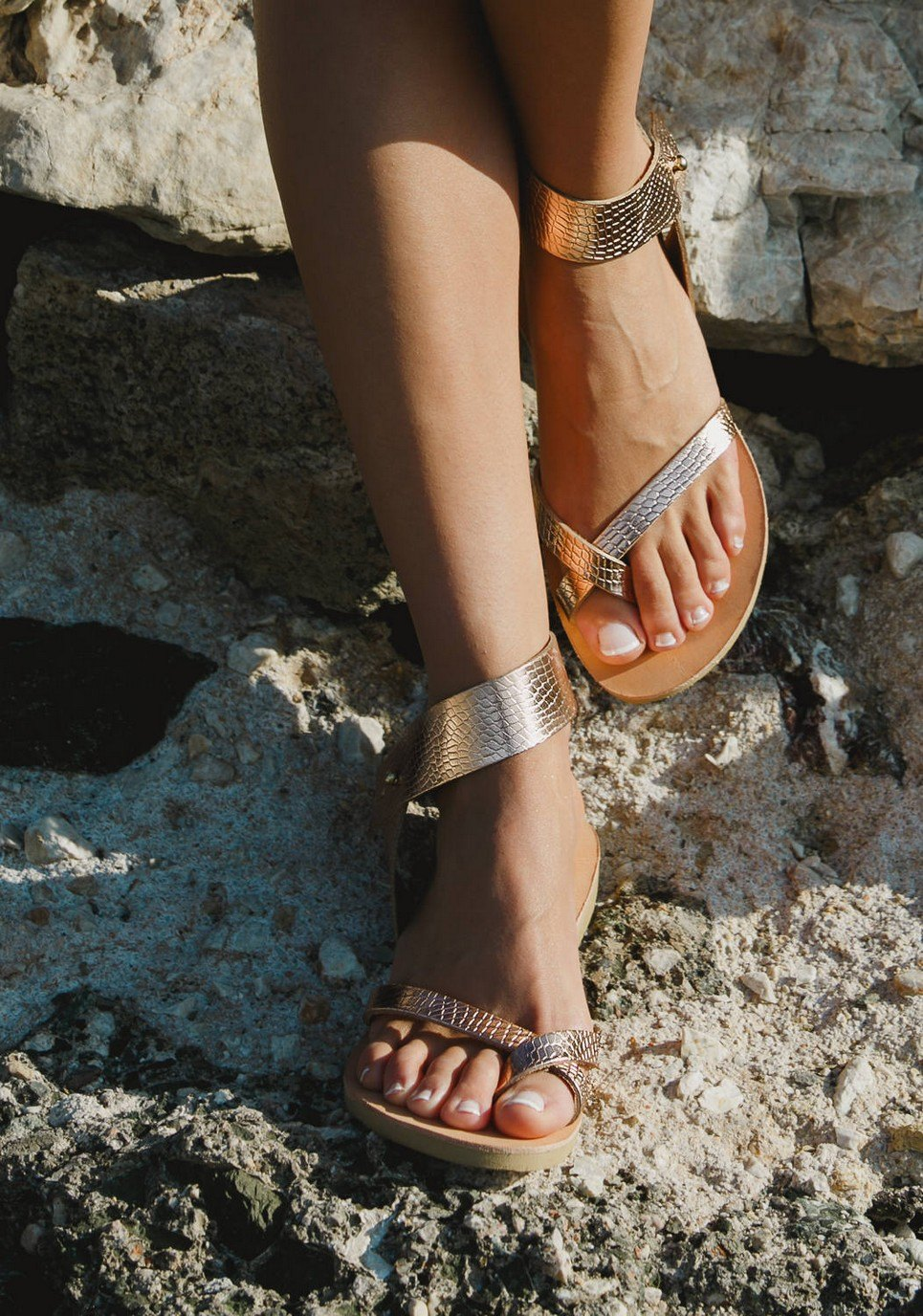 Penelope Snake Rose Gold Greek Leather Sandal