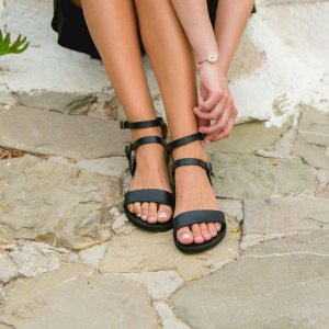 Just what every summer wardrobe needs, the Urania Black Greek Leather Sandal is every woman's dream pair, super comfy and elegant, and easily combined with any outfit.