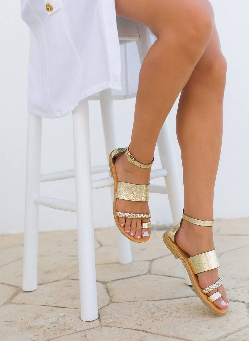Hera Gold Greek Leather Sandal