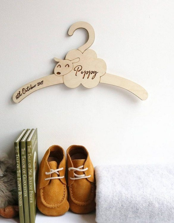 A sweet way to hang your baby clothes or to use as an everyday storage solution, the Little Sheep Baby Coat Hanger adds a touch of elegance to your wardrobe or downstairs coat closet.