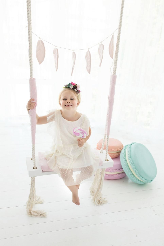 Pink Velvet Wooden Swing Set