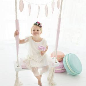 A lovely gift for a little girl or boy, the Pink Velvet Wooden Swing Set is perfect for home, backyard or terrace use.