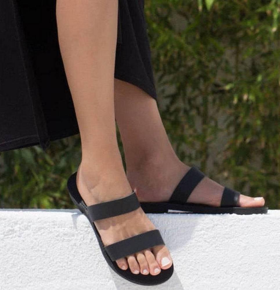 Xanthe Black Greek Leather Sandal