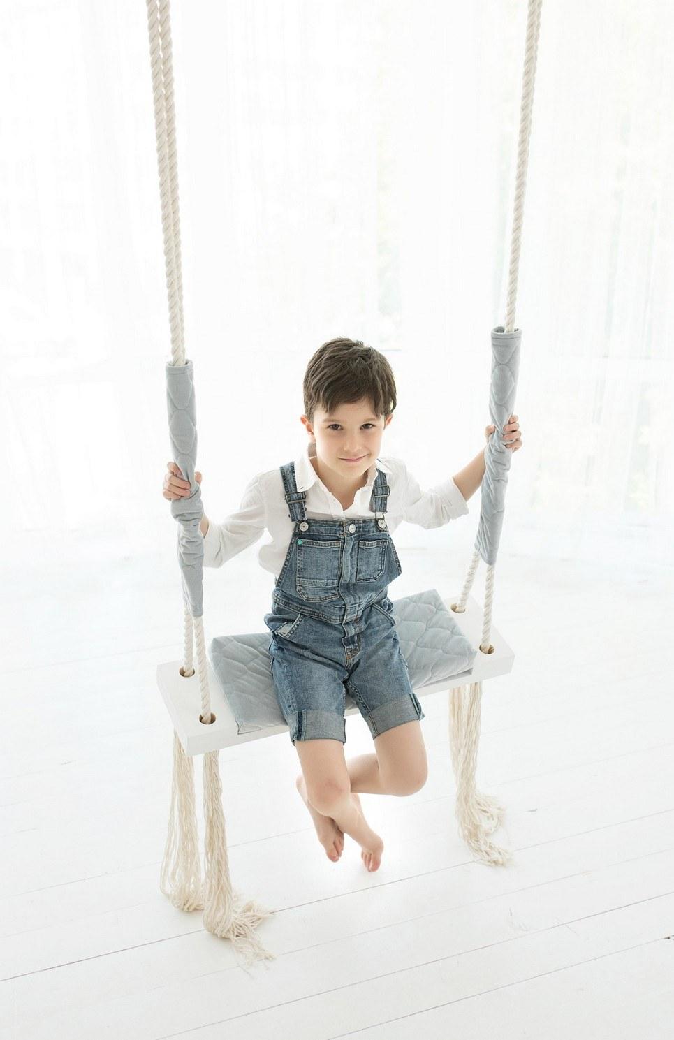 Gray Velvet Wooden Swing Set