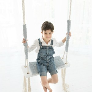 A lovely gift for a little girl or boy, the Gray Velvet Wooden Swing Set is perfect for home, backyard or terrace use.