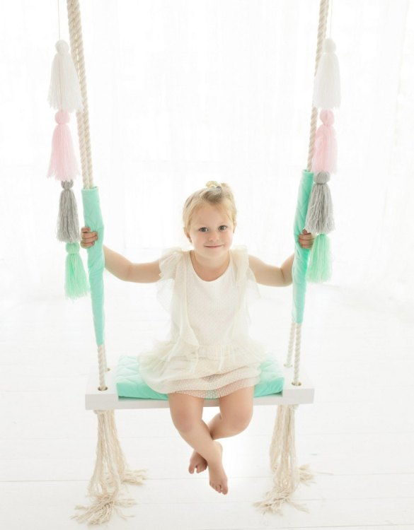 A lovely gift for a little girl or boy, the Mint Velvet Wooden Swing Set is perfect for home, backyard or terrace use.