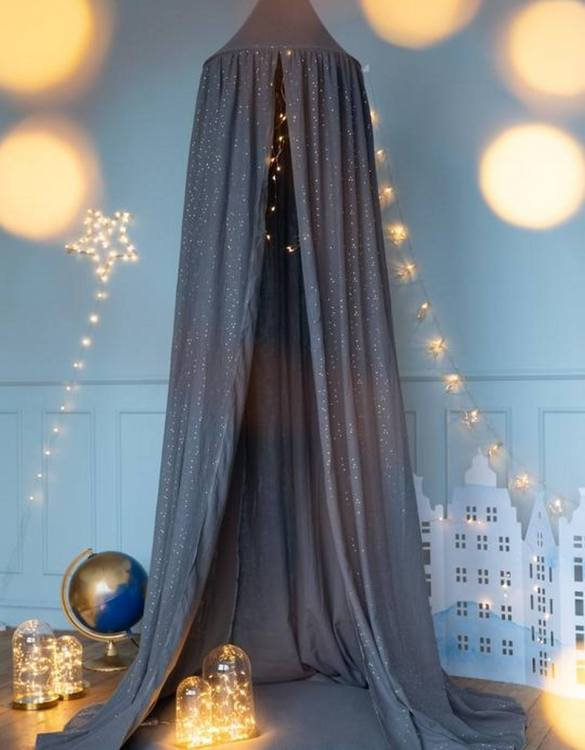 Create a safe fairytale-like environment for little ones with the Grey Nursery Canopy with Gold Dots. This fabulous baby room canopy is perfect for creating a magical place to sleep, read or play.