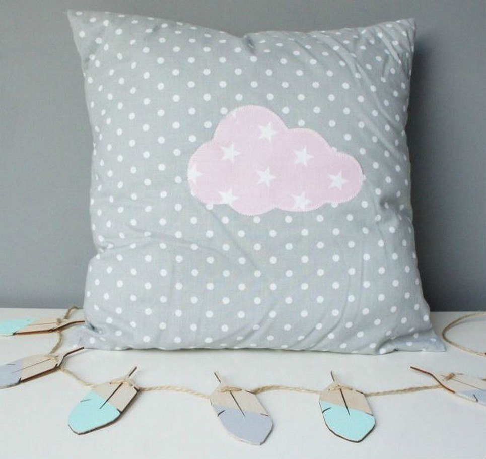 Grey With Pink Cloud Decorative Square Pillow – 1
