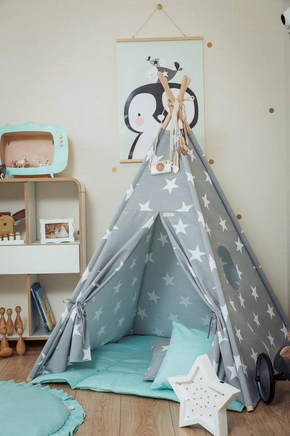 Large Stars Children's Teepee Set with Mint Mat