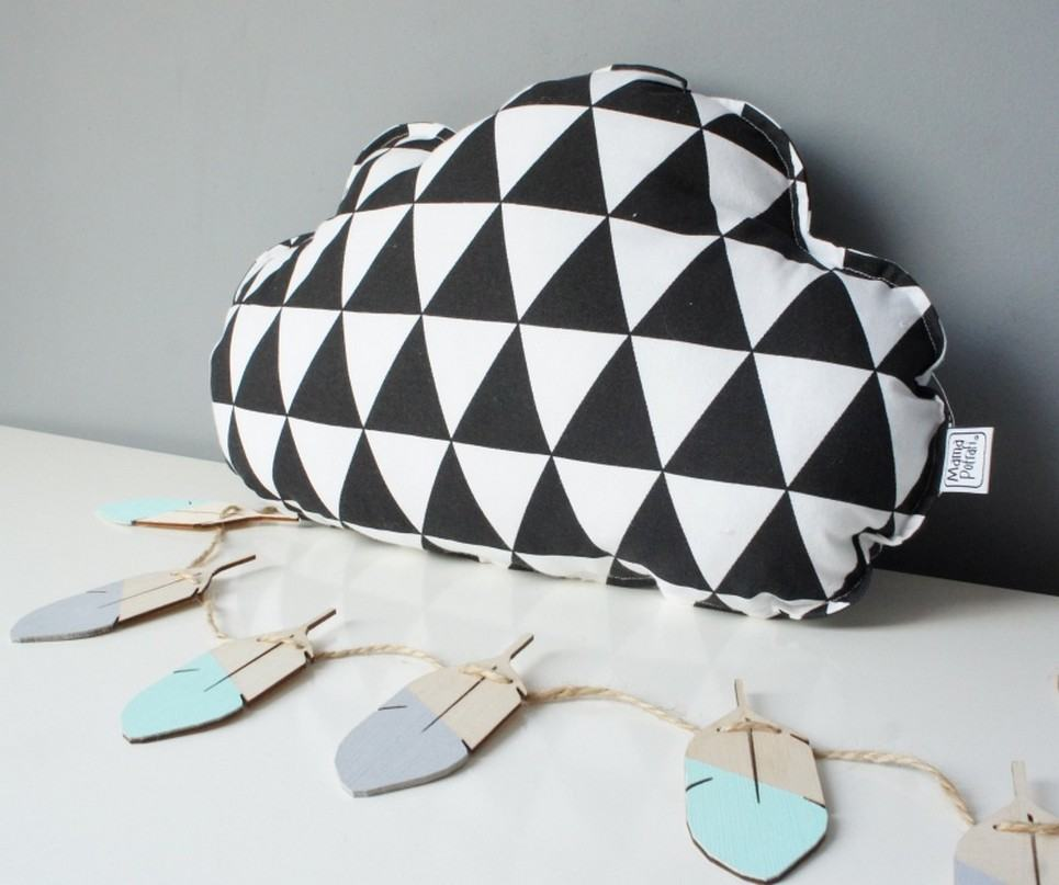 Small Cloud Black And White Triangles Decorative Pillow