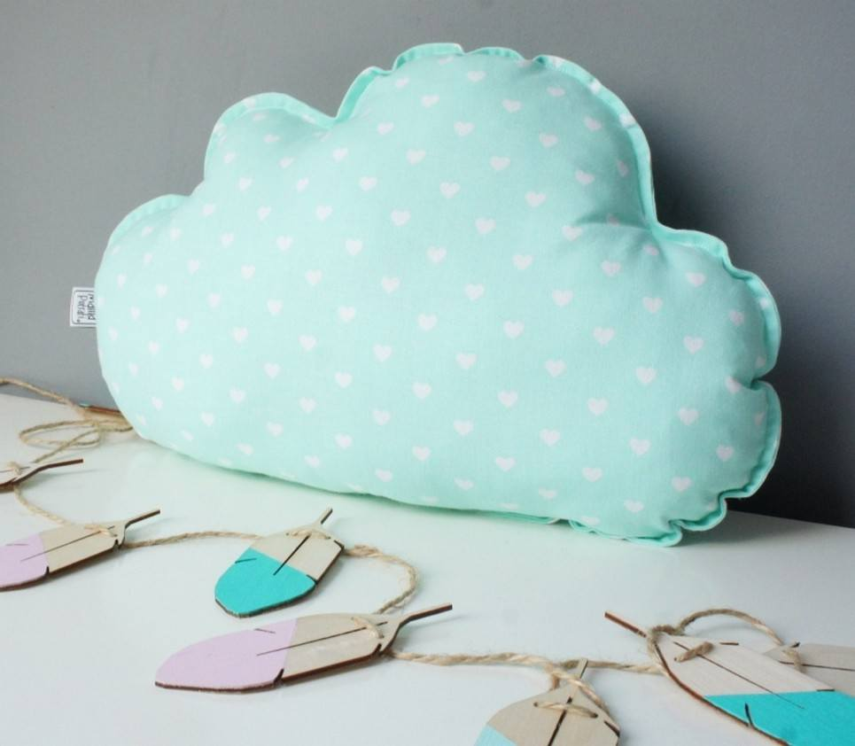 Small Cloud Mint Decorative Pillow
