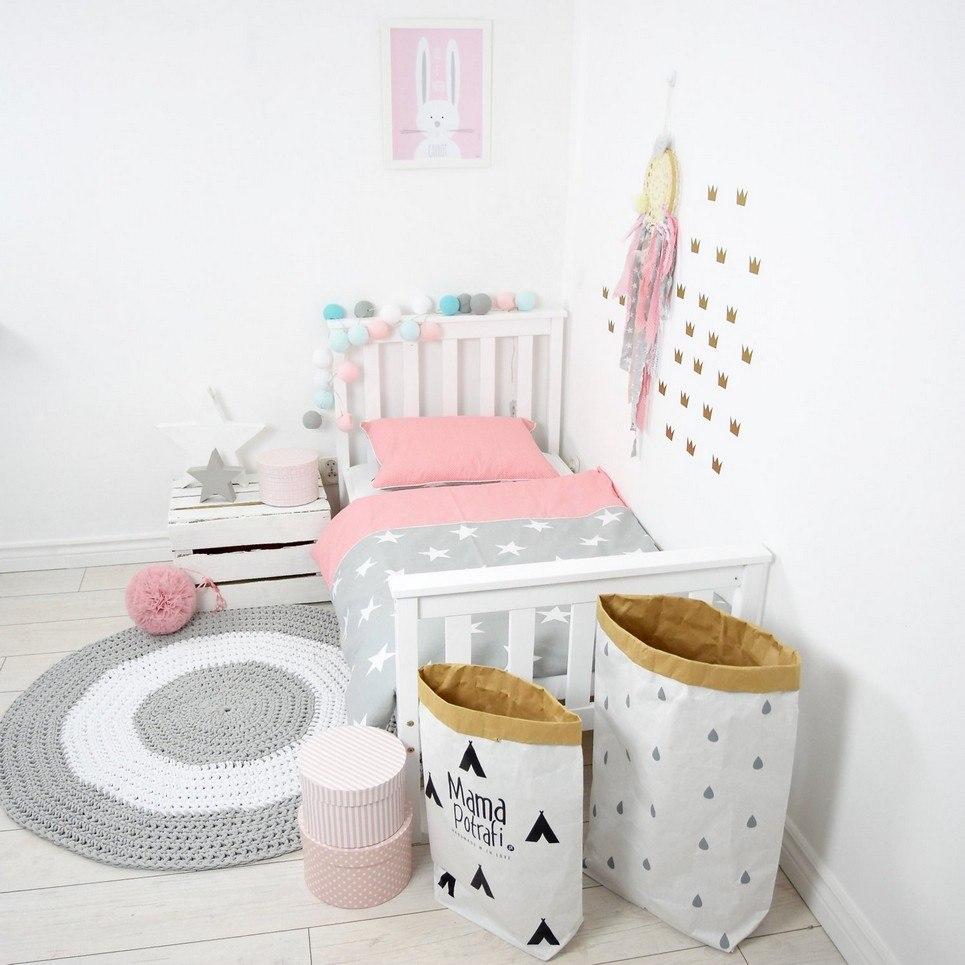 Coral Pink and Grey Baby Crib Bedding Set