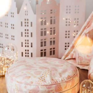 Great to have in a teenager's den, children's playroom or chill out zone, the Gold Hearts Children's Ottoman is wonderfully cute, cosy and a great centerpiece to any room.