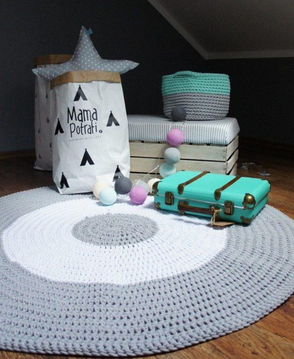 Grey and White Children Crochet Rug