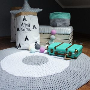 A one-of-a-kind addition to timeless interiors, the Grey and White Children Crochet Rug offers a relaxed comfortable feel of elegance for the modern home. This nursery rug will stand out bold and bright against your floor and bring a quirky and charming vibe to your home.