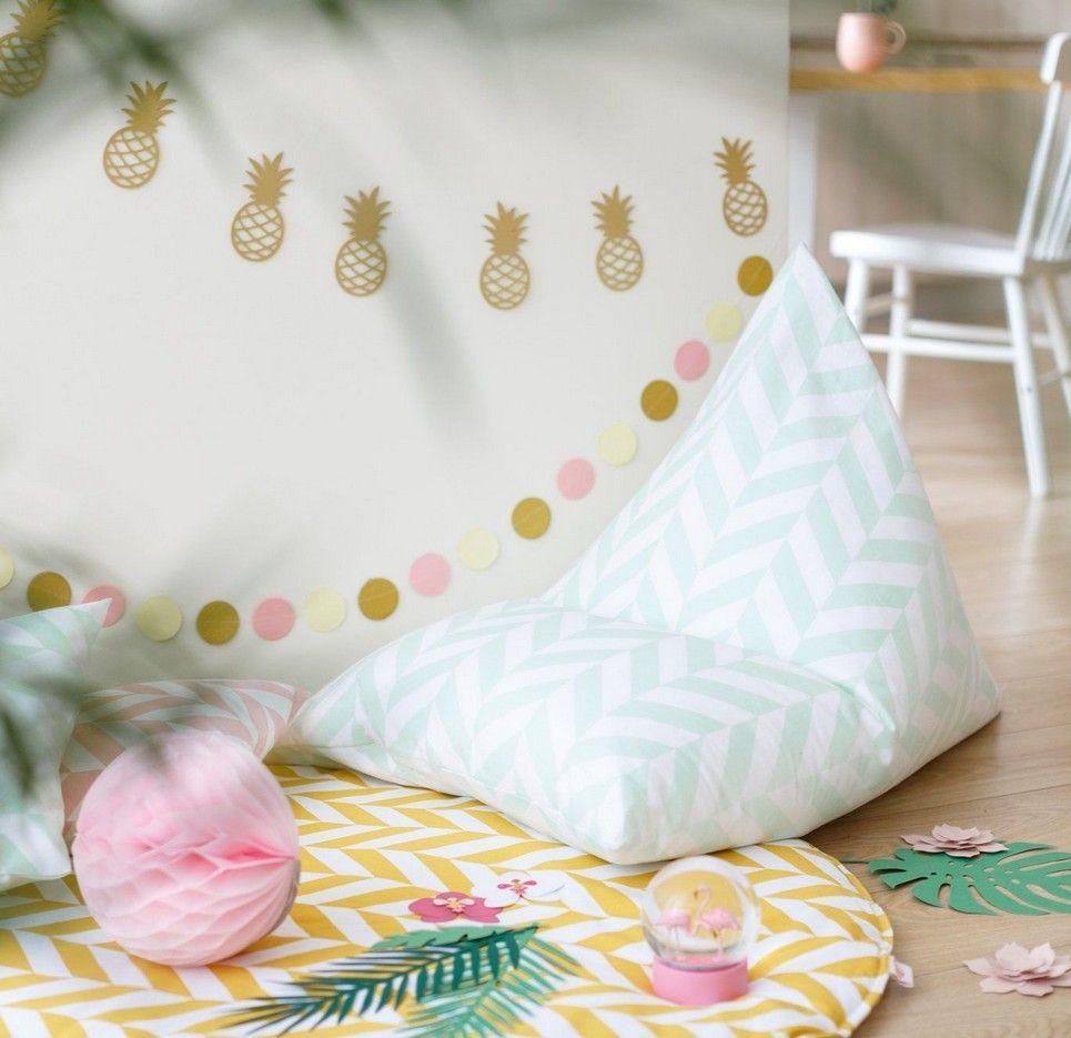Mint Herringbone Children's Bean Bag – 2