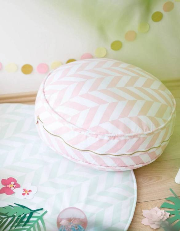 Great to have in a teenager's den, children's playroom or chill out zone, the Pink Herringbone Children's Ottoman is wonderfully cute, cosy and a great centerpiece to any room.