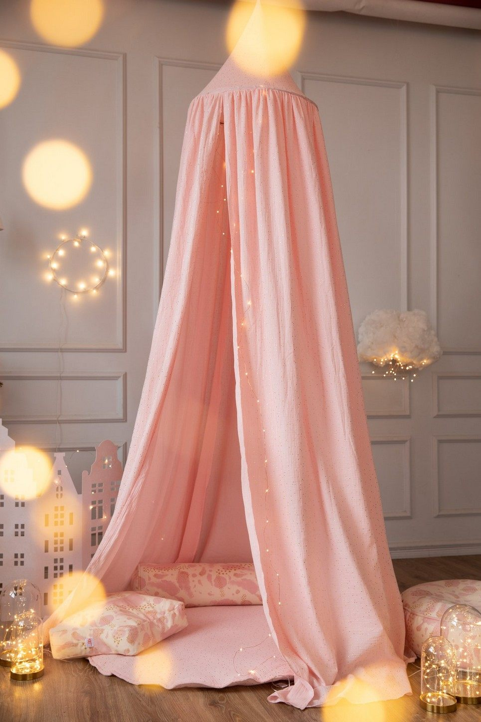 Pink Nursery Canopy with Gold Dots