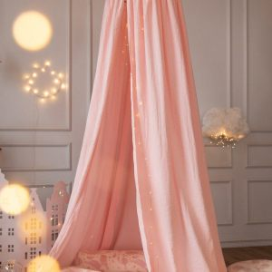 Create a safe fairytale-like environment for little ones with the Pink Nursery Canopy with Gold Dots. This fabulous baby room canopy is perfect for creating a magical place to sleep, read or play.