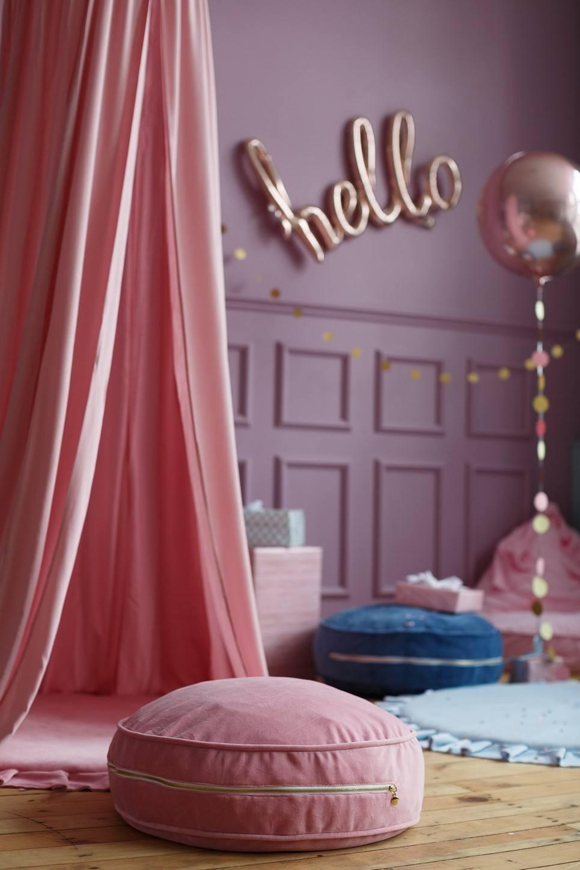 Pink Velvet Soft Children's Ottoman