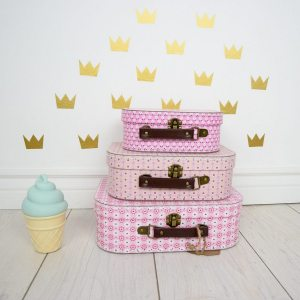 Create and store lasting memories for children of all ages with the Vintage Holders Set Of Three Suitcases. The suitcases can be stacked on top of each other to make for a striking and adorable decoration for baby's nursery or child's room.