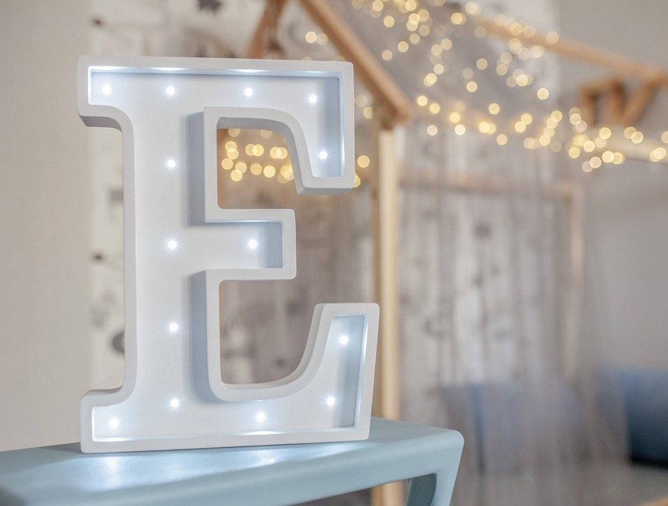 Letter E Marquee Light Sign