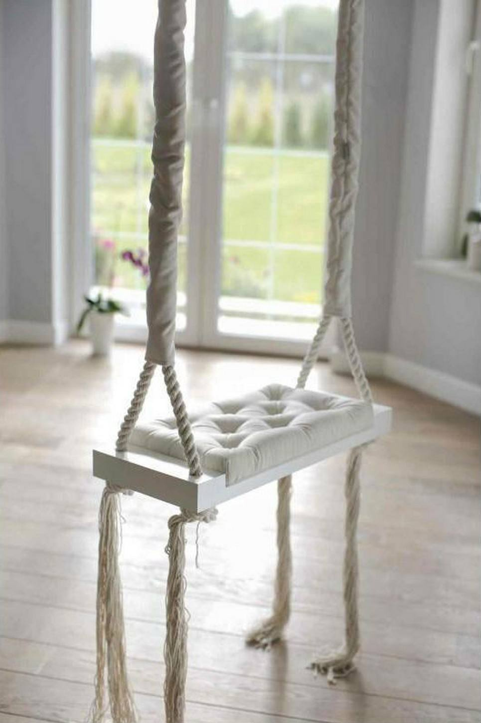 Wooden Swing Vintage Cream Velvet