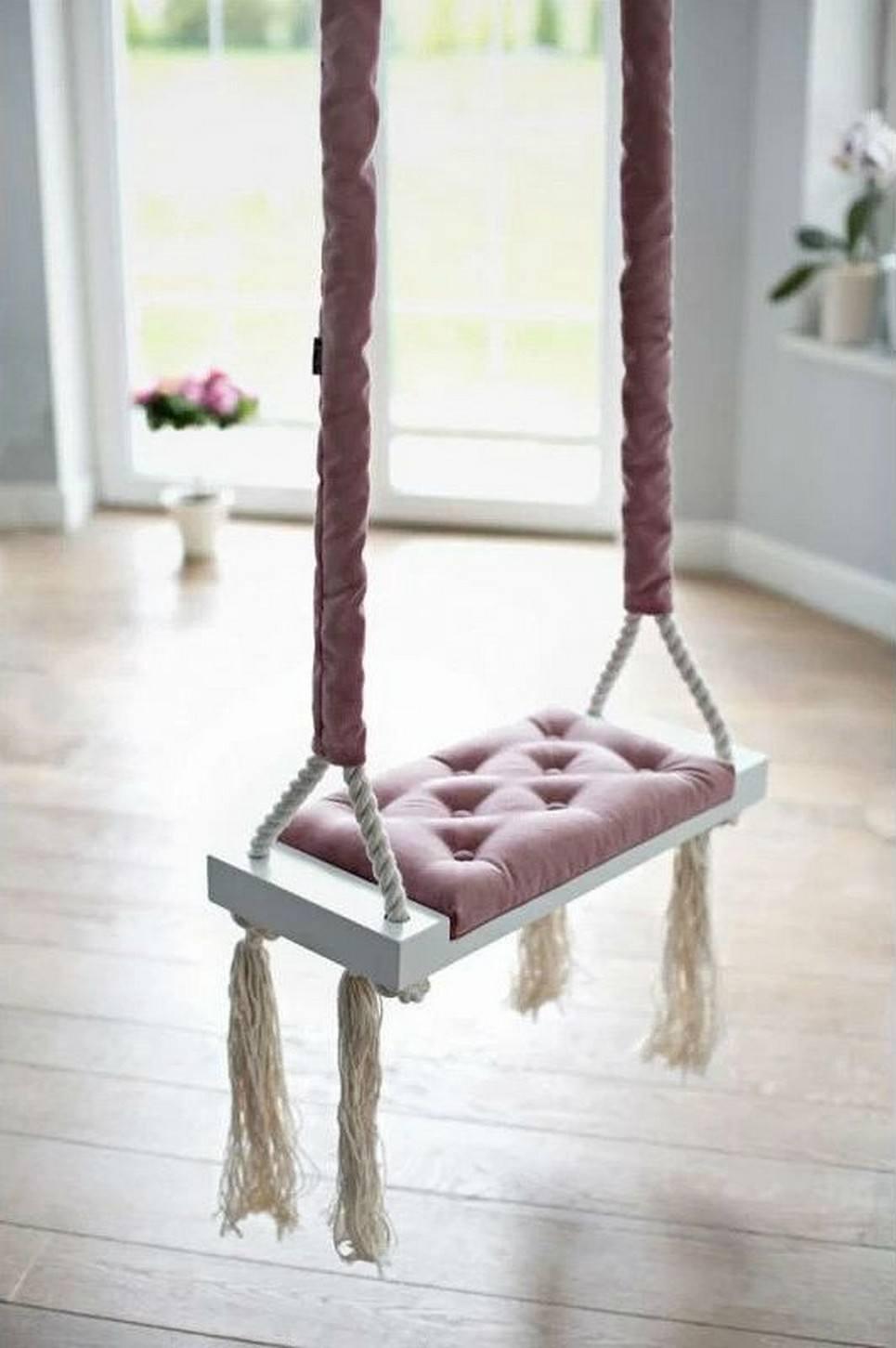 Wooden Swing Vintage Dirty Pink Velvet