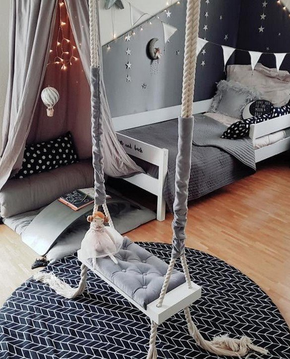 Whether you want it to take you to the moon or simply be a fun place to hang out, the Wooden Swing Vintage Grey Velvet offers great fun for toddlers. Every child loves to play on a toddler swing. This unique toddler wooden swing is beautifully handsaw and an absolute classic. This wooden swing set would also make a lovely gift and is ideal for smaller gardens.