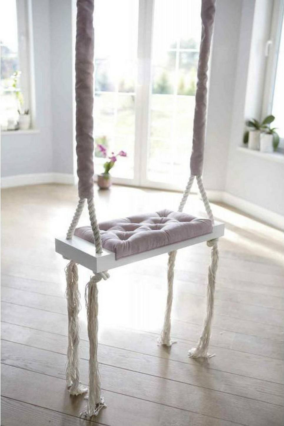 Wooden Swing Vintage Powder Pink Velvet