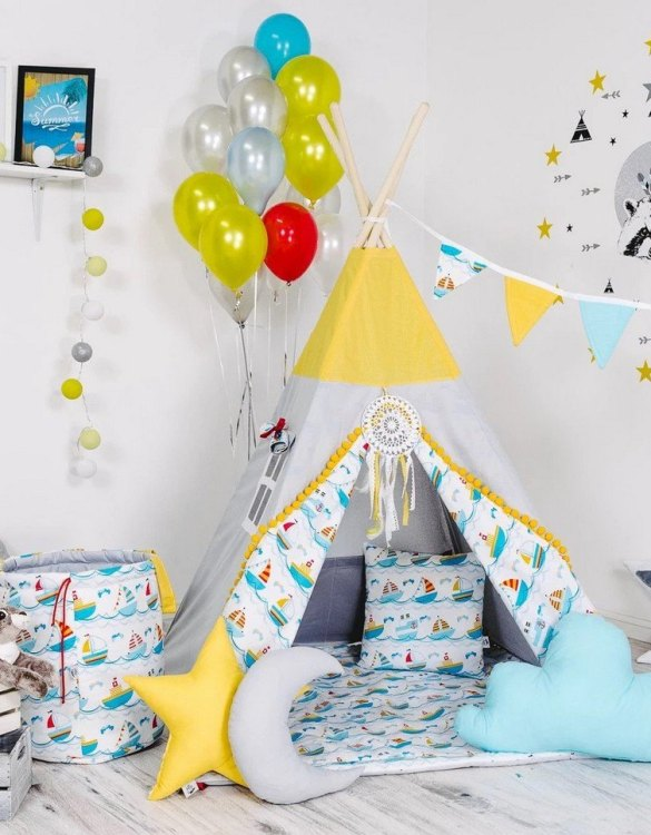 Give your little one the space they need to let their imagination flow with the Child's Teepee Set Boats on The Waves. This handcrafted children's teepee tent is a versatile play space which is as beautiful as it is fun.