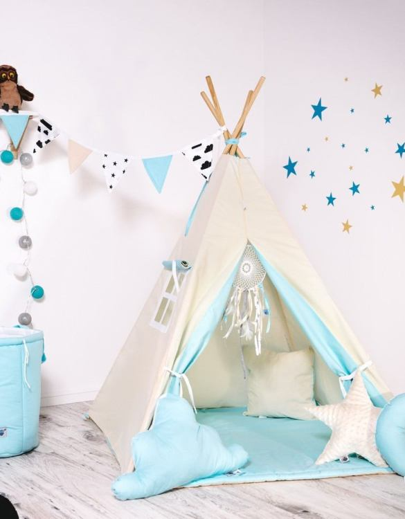 Give your little one the space they need to let their imagination flow with the Child's Teepee Set Fluffy Cloud. This handcrafted children's teepee tent is a versatile play space which is as beautiful as it is fun.