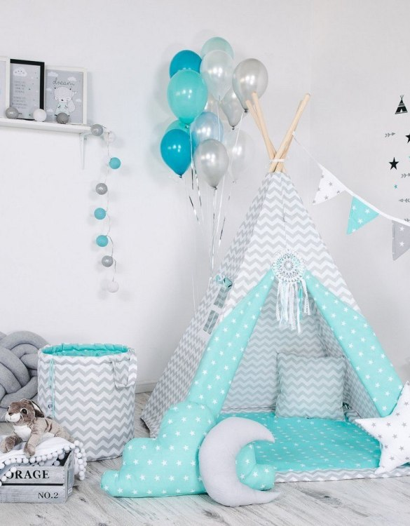 Give your little one the space they need to let their imagination flow with the Child's Teepee Set Mint Nap. This handcrafted children's teepee tent is a versatile play space which is as beautiful as it is fun.