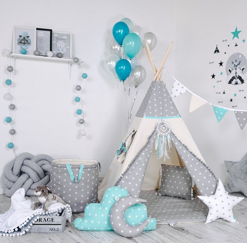Child's Teepee Set Mint Pearl Star