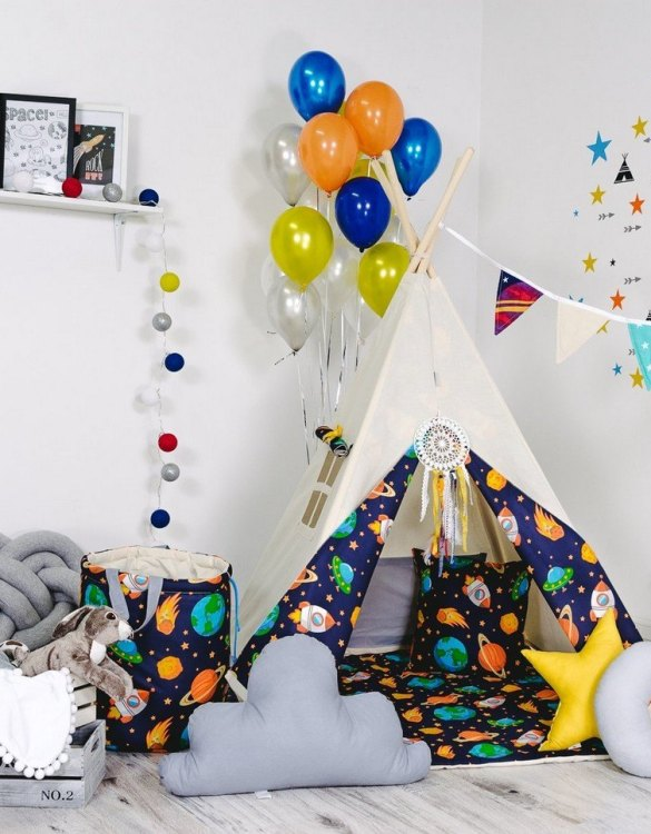 Give your little one the space they need to let their imagination flow with the Child's Teepee Set Space Odyssey. This handcrafted children's teepee tent is a versatile play space which is as beautiful as it is fun.