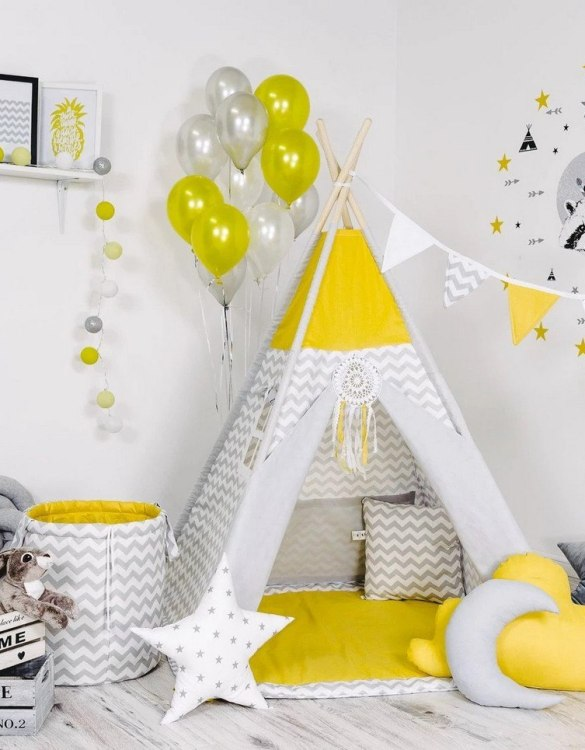 Give your little one the space they need to let their imagination flow with the Child's Teepee Set Sunny Waves. This handcrafted children's teepee tent is a versatile play space which is as beautiful as it is fun.