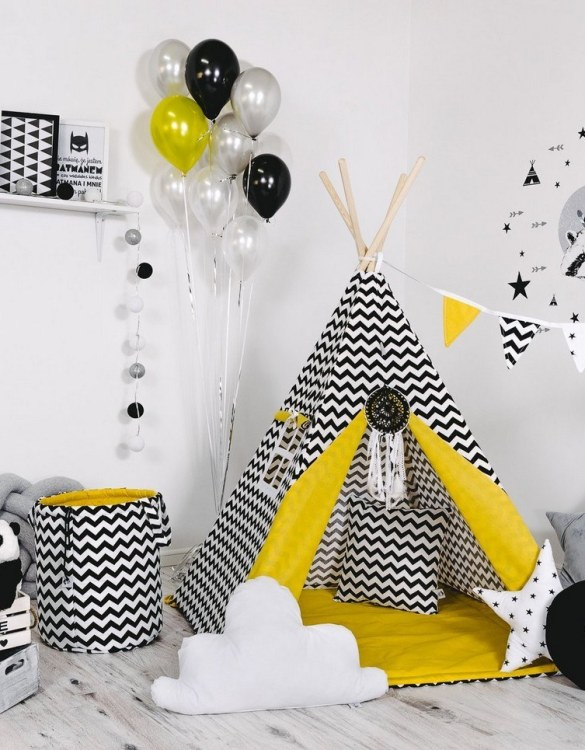 Give your little one the space they need to let their imagination flow with the Child's Teepee Set Sunny Zig Zag. This handcrafted children's teepee tent is a versatile play space which is as beautiful as it is fun.