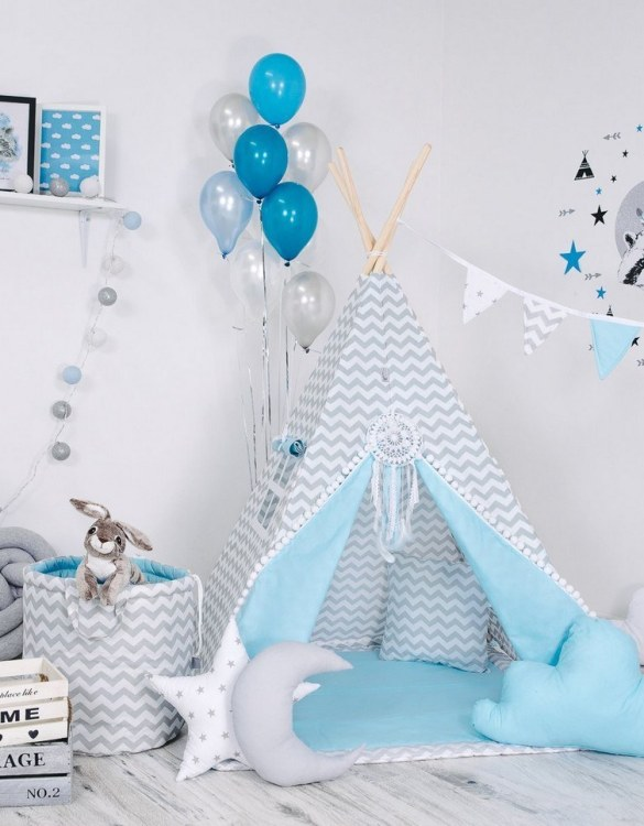 Give your little one the space they need to let their imagination flow with the Child's Teepee Set Blue Nap. This handcrafted children's teepee tent is a versatile play space which is as beautiful as it is fun.