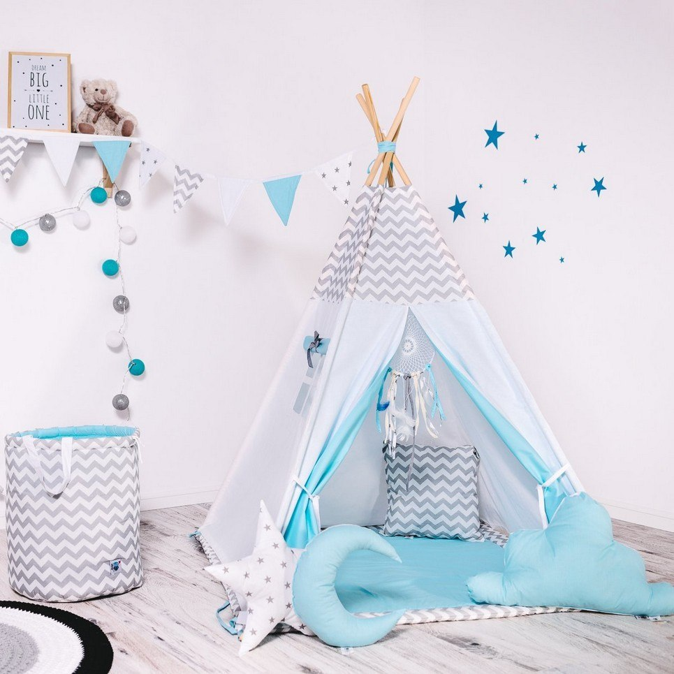 Child's Teepee Set Blue Wind