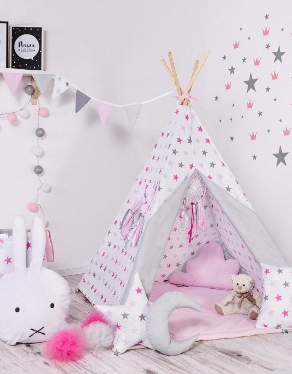 Give your little one the space they need to let their imagination flow with the Child's Teepee Set Candy Constellations. This handcrafted children's teepee tent is a versatile play space which is as beautiful as it is fun.